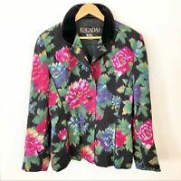 ESCADA by Margaretha Ley Floral Velvet Collar Blazer Jacket VINTAGE 80s