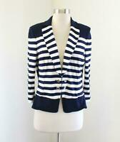 White House Black Market Blue White Striped Knit 3/4 Sleeve Blazer Jacket Size 8
