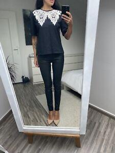 Jean droit slim aspect cuir enduit ZARA 36 jeans waxed black denim S w27