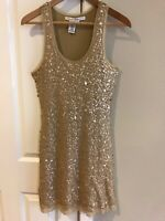 Max Studio Dress Gold Sequin Mesh Party Holiday Sleeveless Cocktail Size Medium