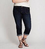 Lane Bryant Patch Pocket Denim Weekend Capri Pants Plus Size 16 22 Dark Wash
