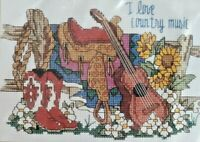 1996 NIP VNTG Counted Cross Stitch Embroidery Kit I Love Country Music 7x5 7344F
