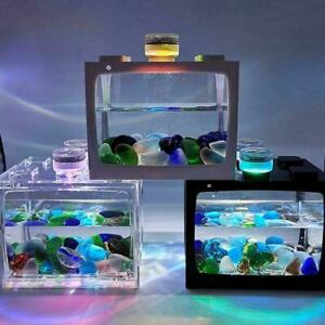USB Mini Fish Tank Small Aquarium LED Betta Aquarium Office Desktop Decor T0T6