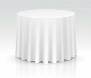 Runde Tischdecke Weiß -MAMBER- für Gastronomie Bankettisch, Hotels, Feier