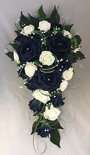 ARTIFICIAL FLOWERS IVORY NAVY ROSE BRIDE WEDDING SHOWER TEARDROP BOUQUET CRYSTAL