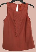 S - BCBGeneration - Keyhole Ruffle Sleeveless Top, Sepia Burnt Orange - BCBG