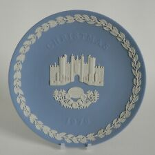 WEDGWOOD CHRISTMAS PLATE 1976 HAMPTON COURT PALACE BLUE JASPERWARE W/ BOX INSERT