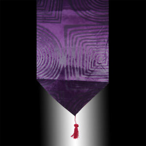 PURPLE VELVET SOFT SQUARE CIRCLE DECO PARTY WEDDING BED TABLE RUNNER CLOTH
