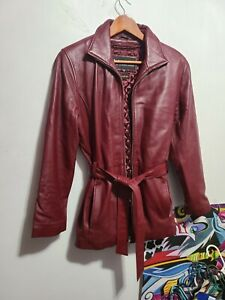 Vintage Wilsons Womens Burgundy Leather Jacket Belted Coat Thinsulate Small