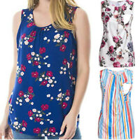 Women's Maternity Floral Nursing Top Sleeveless Comfy Breastfeeding Clothes