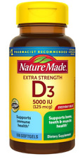 NATURE MADE EXTRA STRENGTH VITAMIN D3 5000 IU SUPPORT IMMUNE HEALTH 100 SOFTGELS