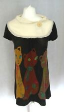 Joe Browns Cats Cowl with button  Neck Jumper Dress Size 12 tunic length