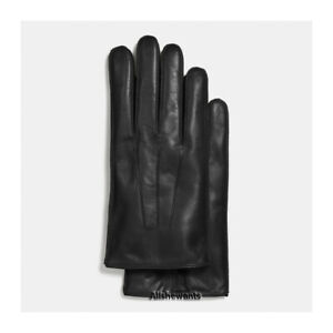 NEW Genuine COACH Gloves for Men Black Basic Nappa Leather w/Cashmere MSRP $128