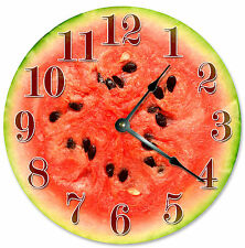 WATERMELON FRUIT KITCHEN CLOCK Large 10.5 inch Round Wall FRUIT Clock 2088