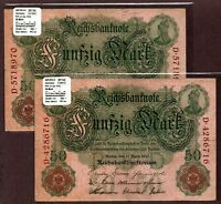 """Germany """"$40+ Extreme Value"""" (1910) SCARCE 50-Mark {DOUBLE} Circulated Notes P41"""