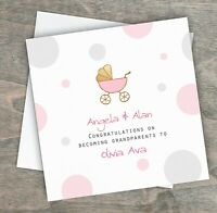 Personalised Handmade Congratulations New Grandparents Card Granddaughter Girl