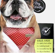 2 For $29.95 GENUINE Wagworthy Dog Collar/Leash/BowTie/Bandanna LG Fast Postage