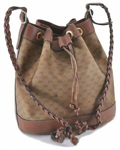 Authentic GUCCI Micro GG PVC Leather Shoulder Cross Body Bag Brown D1783