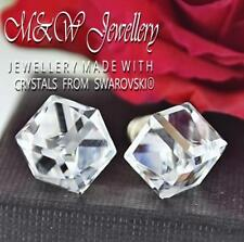 925 Sterling Silver Stud Earrings CUBE 8mm CRYSTAL CAL Crystals From Swarovski®
