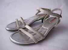 PRADA-Sandaletten 36,5 Silber Sandalen Textil Leder Pumps Damen-Schuhe