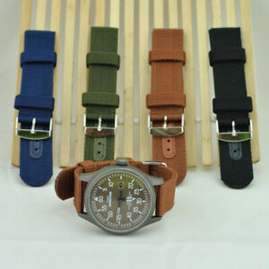 Unisex Nylon Wristwatch Band Military Canvas Watch Strap Buckle Replacement