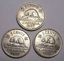 1937  Canada (5) five cents Canadian nickel Coins, 3 coin lot