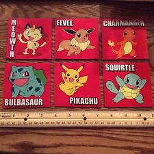 Pokemon Fabric Iron On Appliques (style# 3) Pikachu Charmander Squirtle Meowth