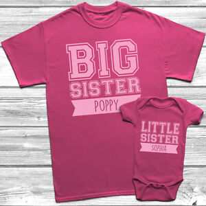 Personalised Big Sister Little Sister T-Shirt Kids Baby Grow Sisters Outfits