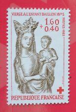Timbre Croix-Rouge de France n°2295 de 1983 Vierge à l'enfant - Baillon XVeS