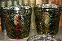 * Set aus 2 Teelichthalter Glas Grün Shabby Vintage Bauernsilber