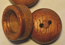"""Wd/  15 BROWN WOOD CUP SHAPED BUTTONS NOS 5/8"""" OR 15 mm QUANTITY DISCOUNT"""