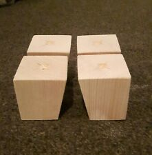 A Set 4 Wooden Sofa Feet Furniture Pine Square Legs