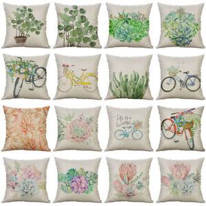 18'' Succulent Pattern Pillow Case Cotton Linen Sofa Cushion Cover Home Decor
