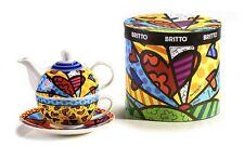 """ROMERO BRITTO BONE CHINA """"A NEW DAY"""" HEART DESIGN TEA FOR ONE TEAPOT"""