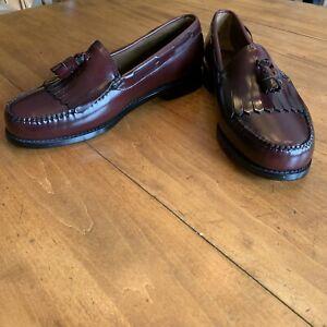 Men's New Bass Weejun Kiltie Tassel Loafers In Burgundy Size 11 1/2 E