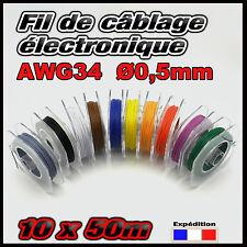 awg34M# fil de câblage modélisme ultra fin Ø 0,5mm 10 x 50m noir, rouge ....