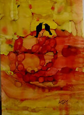 """Original Painting 5x7"""" red yellow abstract two black birds ravens by L Kohler"""