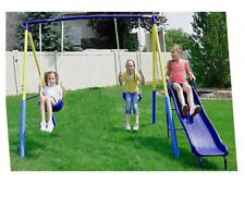 Swing Set For Backyard Metal Playground Slide Fun Playset Outdoor Toddler Kids