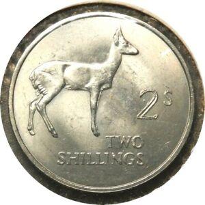 elf Zambia 2 Shillings 1966 Bohors Reedbuck