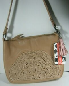 The Sak Indio Leather Small Hobo Shoulder Bag Sahara Crochet NWT $169