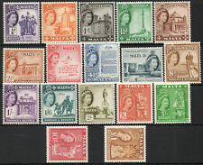 Malta 1956 QEII set of mint stamps value to £1  Lightly Hinged