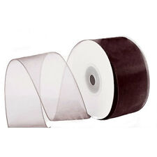 "1/4"" Plain Sheer Organza Nylon Ribbon 25 Yards - Brown"