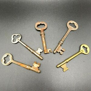 """Antique lot of 5 skeleton keys steel iron brass 3"""" Russell and Erwin mixed lot"""