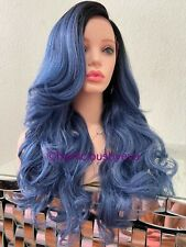 Blue Lace Front Wig Ombré Wavy Layered 24 Inch Long Heat Resistance Ok