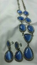 Light Blue Cats Eye Earrings and Necklace SET Austrian Crystal accent 18-20inch