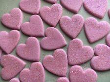 Edible glittery large fondant hearts-pink  -cake topper x25