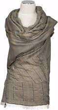 Schal Wolle Baumwolle Taupe bestickt groß 100 x 200 wool cotton  scarf