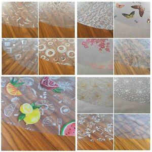 Transparente Folie Tischdecke Schutzfolie mit Muster Rund Oval Größe wählbar