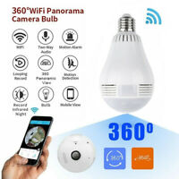 360° HD Wifi Bulb IP Hidden Camera Panoramic Home Security Spy Cam Fisheye Cam