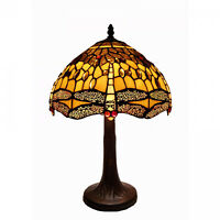 Amber Tiffany Style Stained Glass Dragonfly Table Lamp Reading Accent